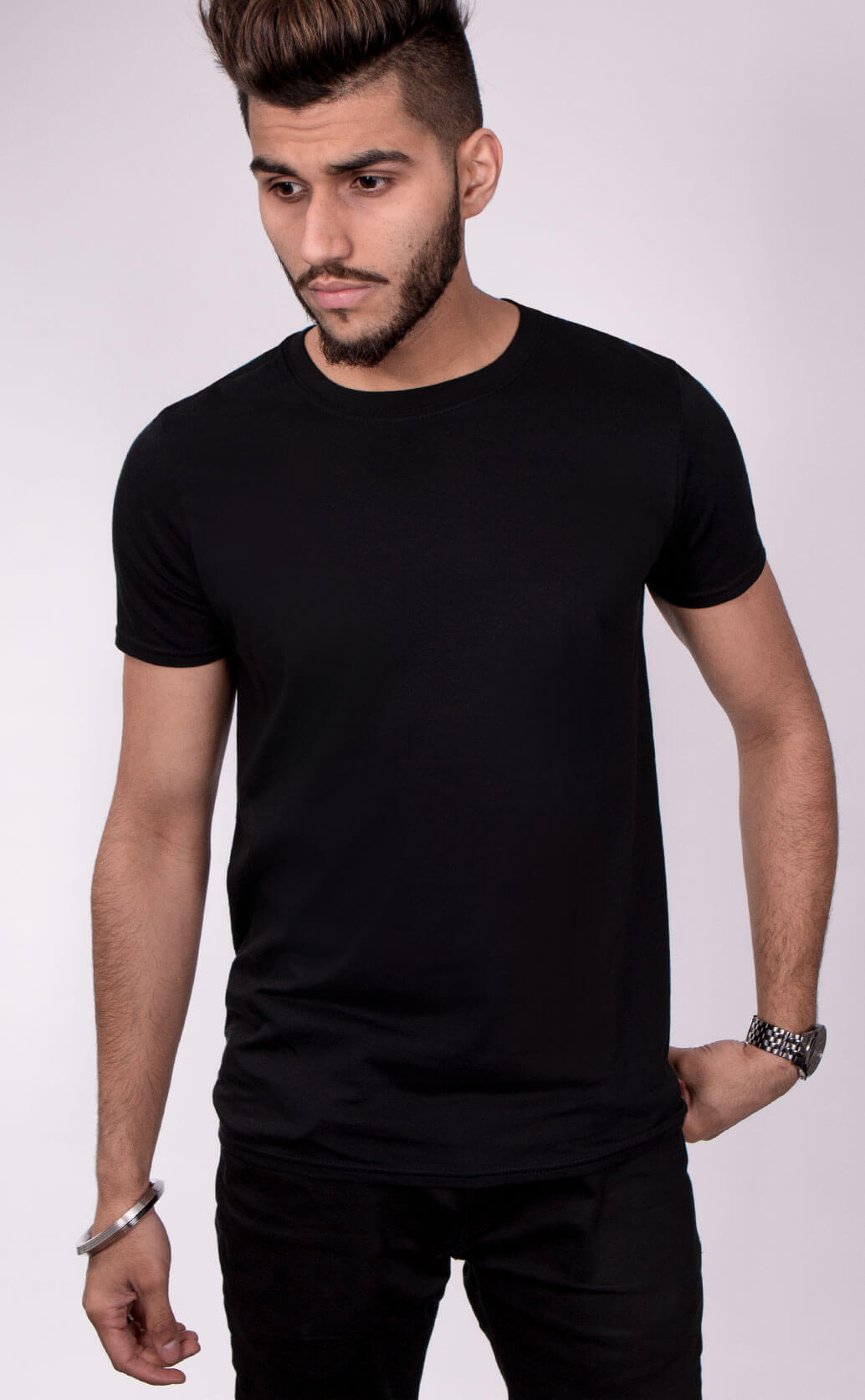 Size guide image for Mens Style Fit shirt type. Model is dressed in black
