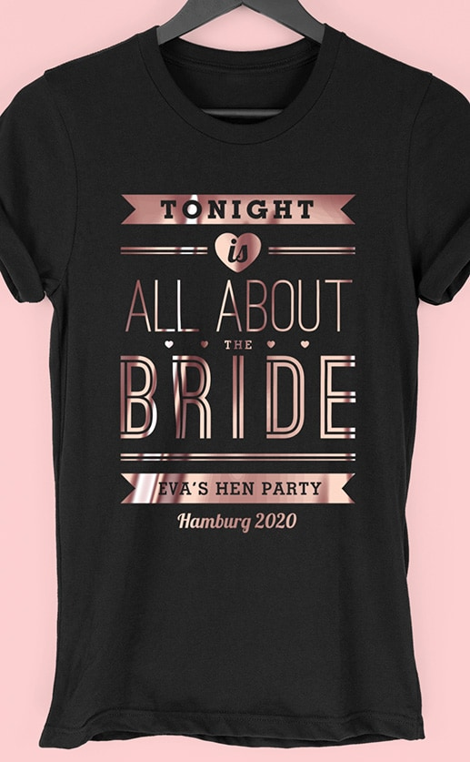 All About The Bride – Personalised Hen Party T Shirt