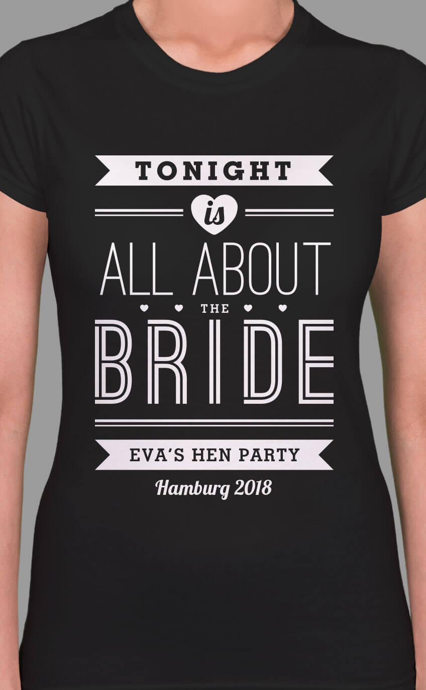 Image to buy product All About The Bride Personalised Hen Party T Shirt. Stylised lettering in white print on a black lady fit t-shirt.