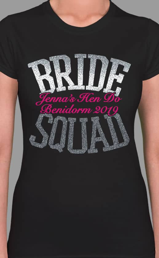 Image to buy product Bride Squad Glitter Personalised Hen Party T Shirt. Bold lettering in glitter silver print with subtext in fuchsia on a black lady fit t-shirt.