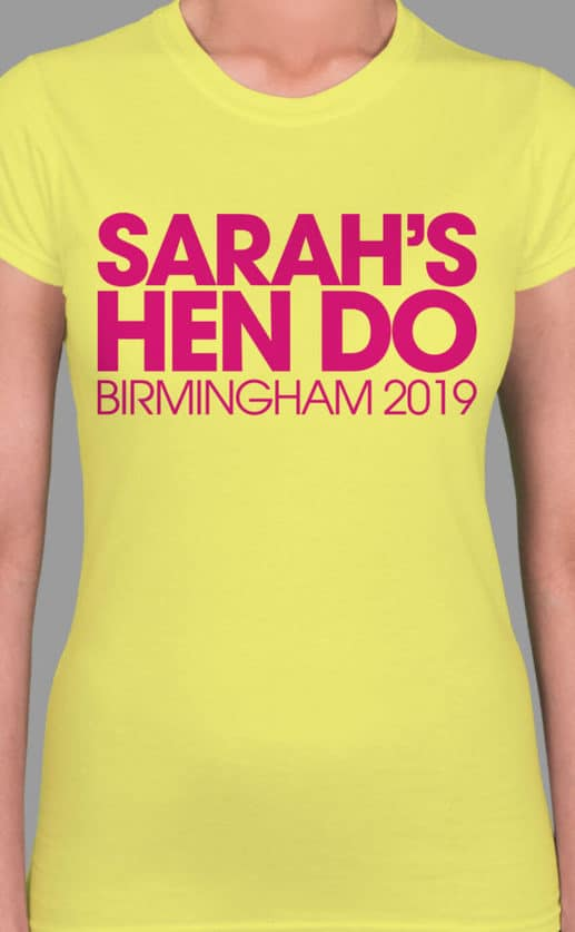 Image to buy product Chunk Personalised Hen Party T Shirt. Bold chunky lettering in fuchsia print on a cornsilk yellow lady fit t-shirt.