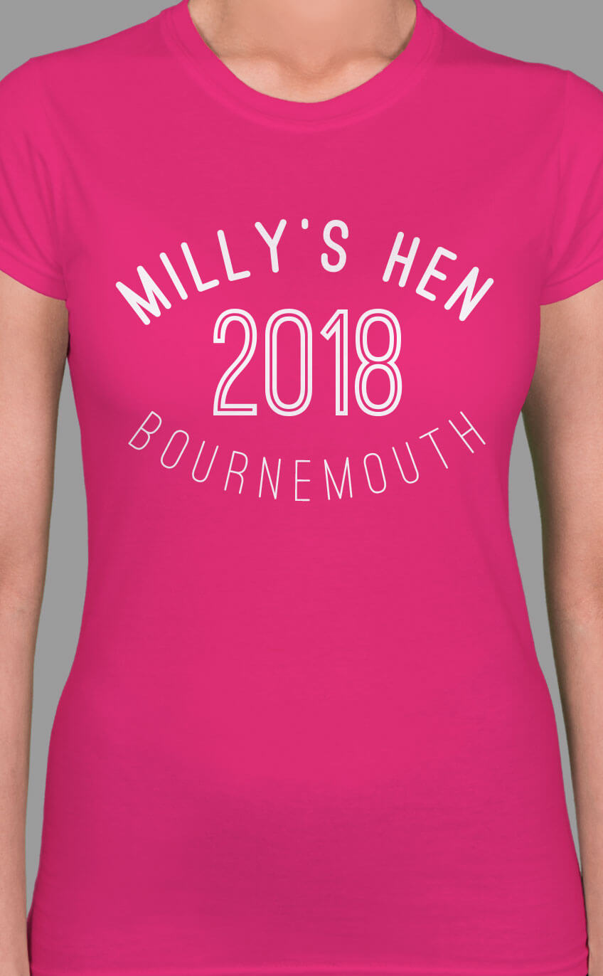 Image to buy product Curve Personalised Hen Party T Shirt. Stylised curved text in white print on a fuchsia lady fit t-shirt.