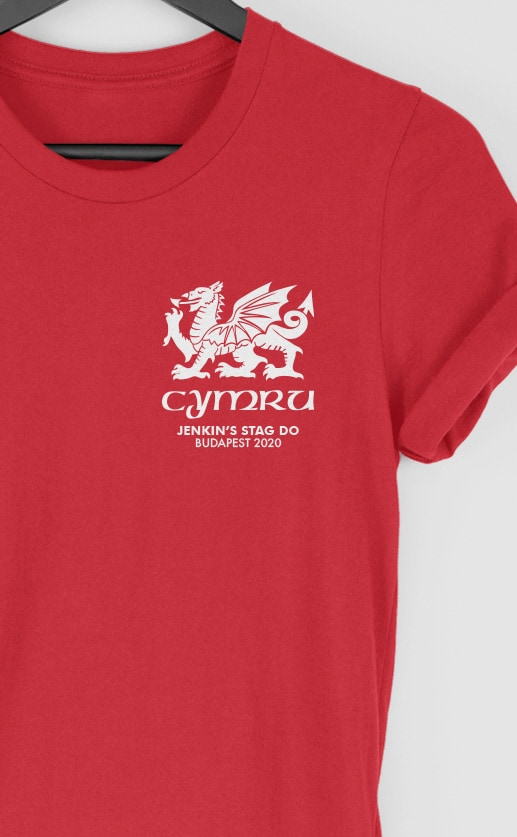 Dragon – Wales – Top Left Personalised Stag Do T Shirt