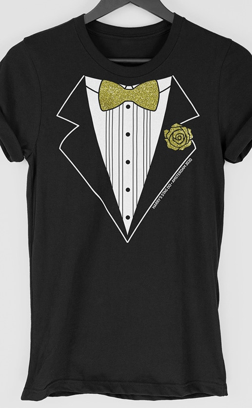 Glitter Tux Multi Print Personalised Stag Do T Shirt