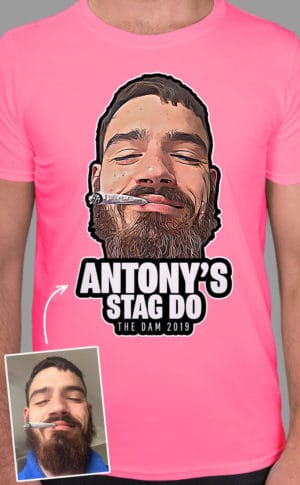 Stylised photograph of a groom to be's head with bold text underneath in full colour print on a neon pink t-shirt. Face is cropped out with beard and cigarette in mouth