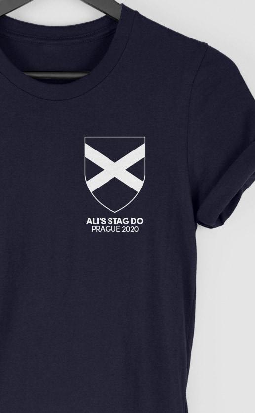 Scotland - Top Left Personalised Stag Do T Shirt