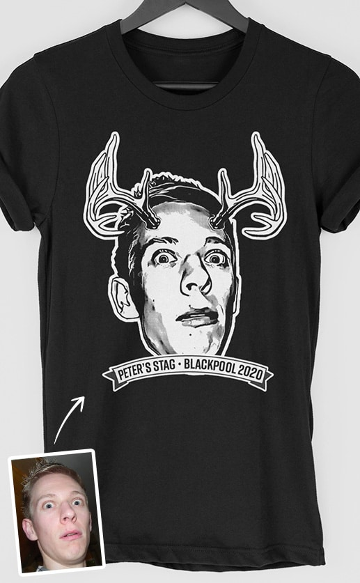 Antlers PhotoWorks Personalised Stag Do T Shirt