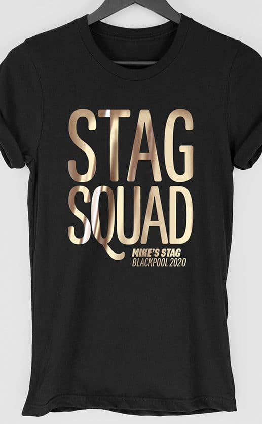 Large typographic design Stag Squad in foil gold print on black t shirt