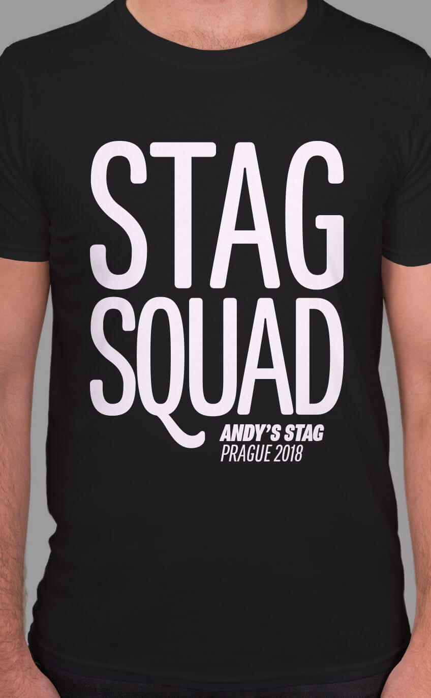 Large typographic design Stag Squad in white print on black t shirt