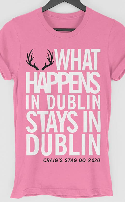 What Happens Multi Print Personalised Stag Do T Shirt