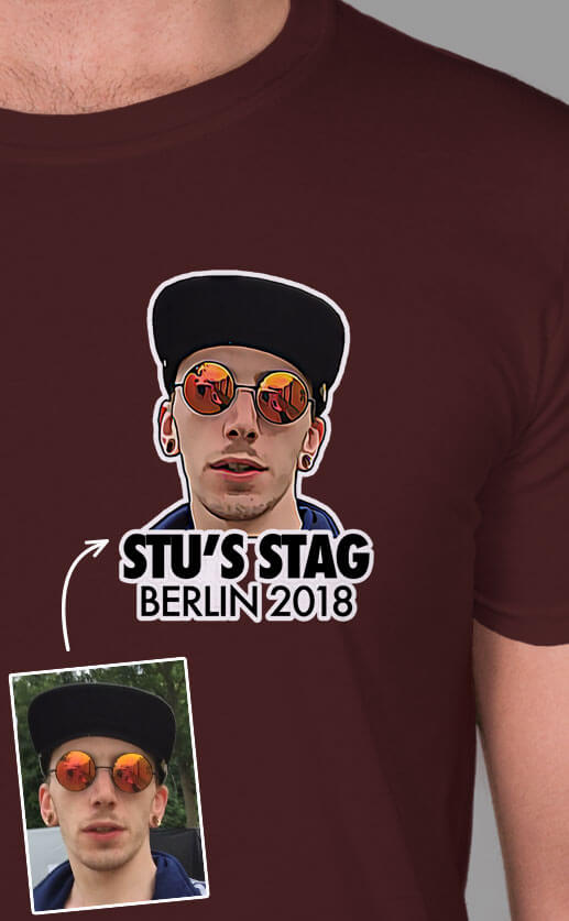 Small top left stylised photograph of the stag's face. Personalised text underneath. Full colour print on maroon t-shirt