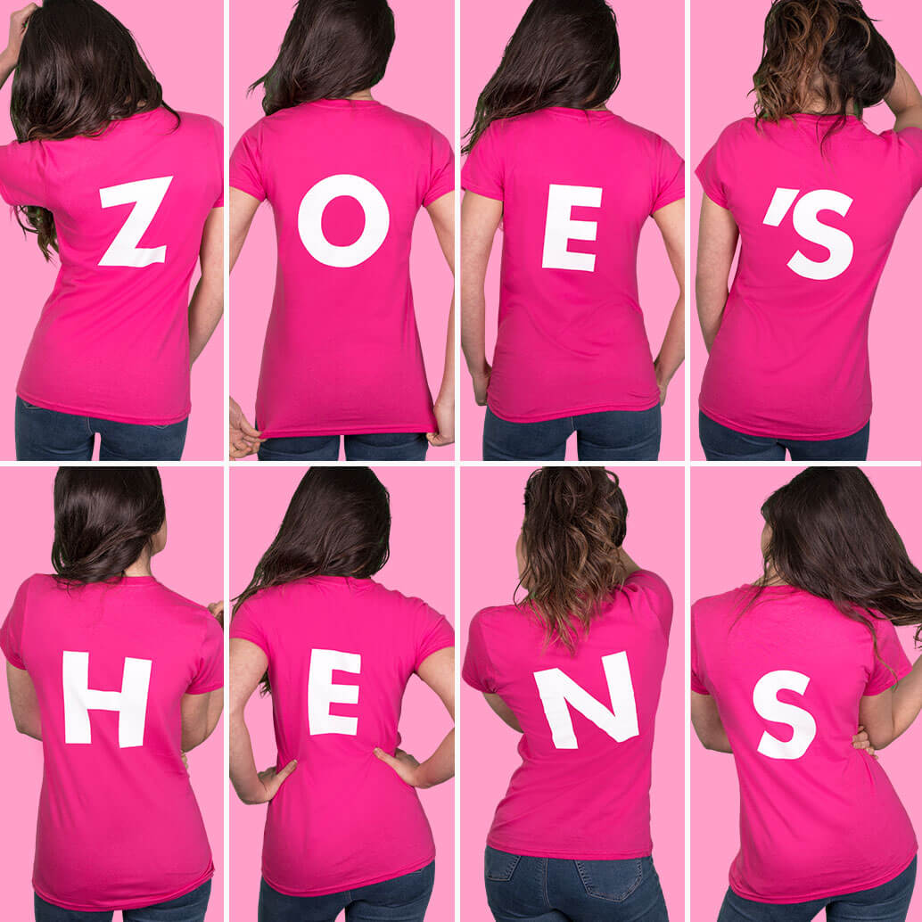 Eight medium to close-up shots of models wearing fuchsia lady fit t shirts. Photographed from the back to show white back letter print. Spells out ZOE'S HENS. Light pink background