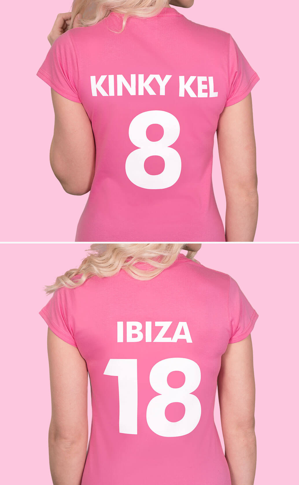 Two medium close-up shots of models wearing azalea pink lady fit t shirts. Photographed from behind to show back name and number prints in white. First shot has 'Kinky Kel' and the number 8, second shot has 'Ibiza 18'. Light pink background