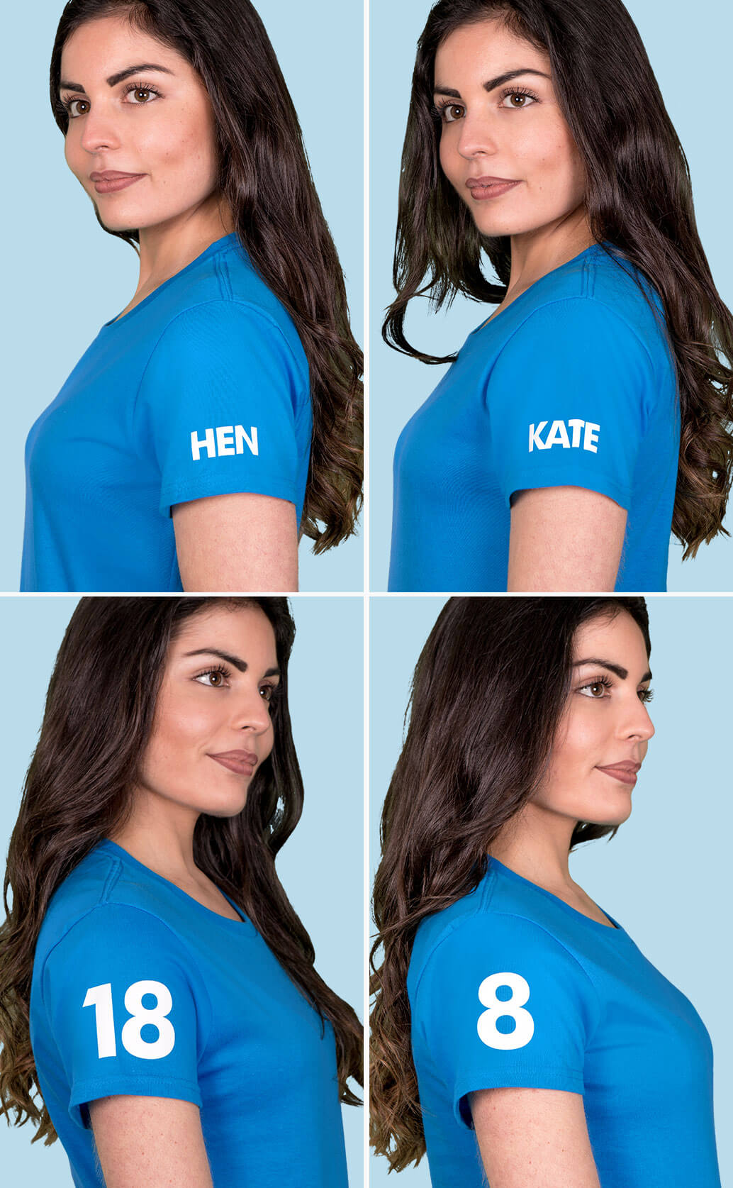 Four medium close-up shots of model in sapphire blue t shirt, each displaying different examples of white sleeve prints including a name, number, year and the word 'hen'. Light blue background