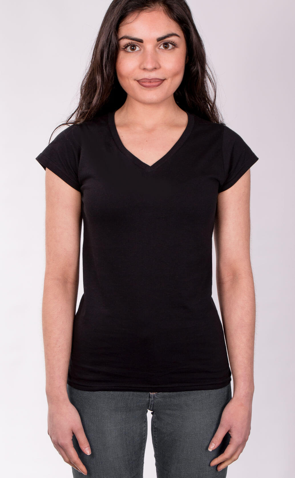 Size guide image for Lady V Neck shirt type. Model is dressed in black