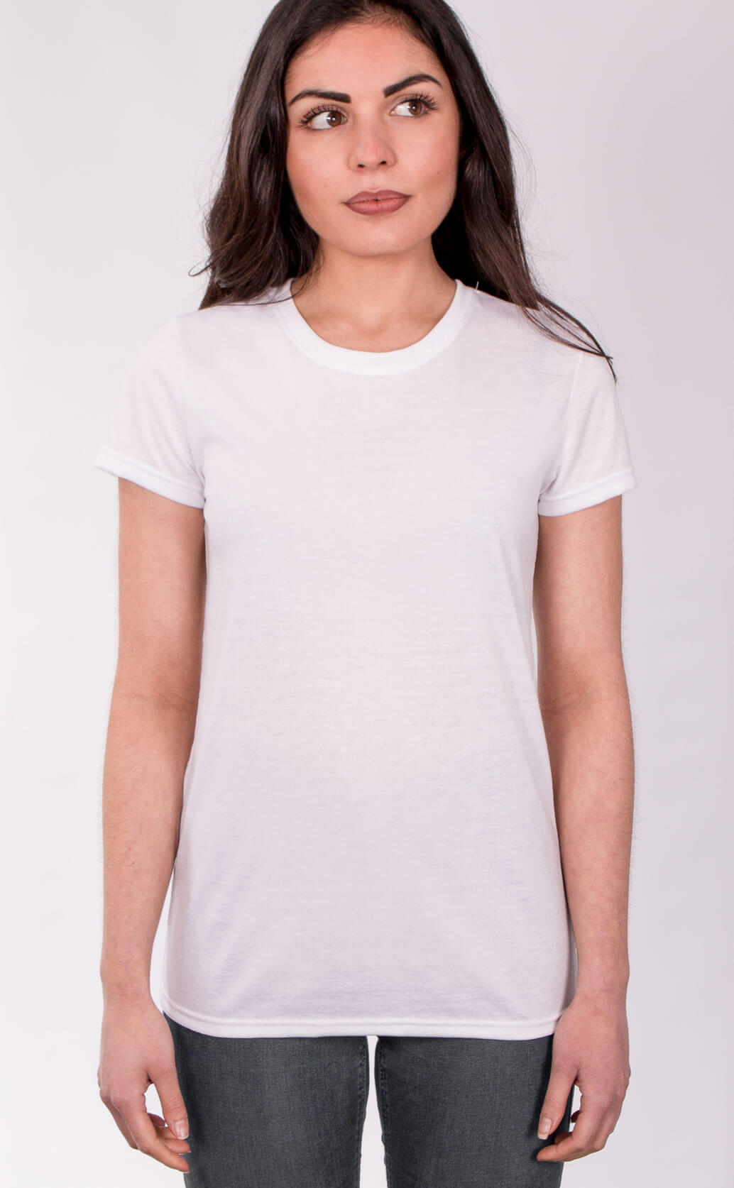 Size guide image for Lady Sub shirt type. Model is dressed in white t shirt and dark jeans.