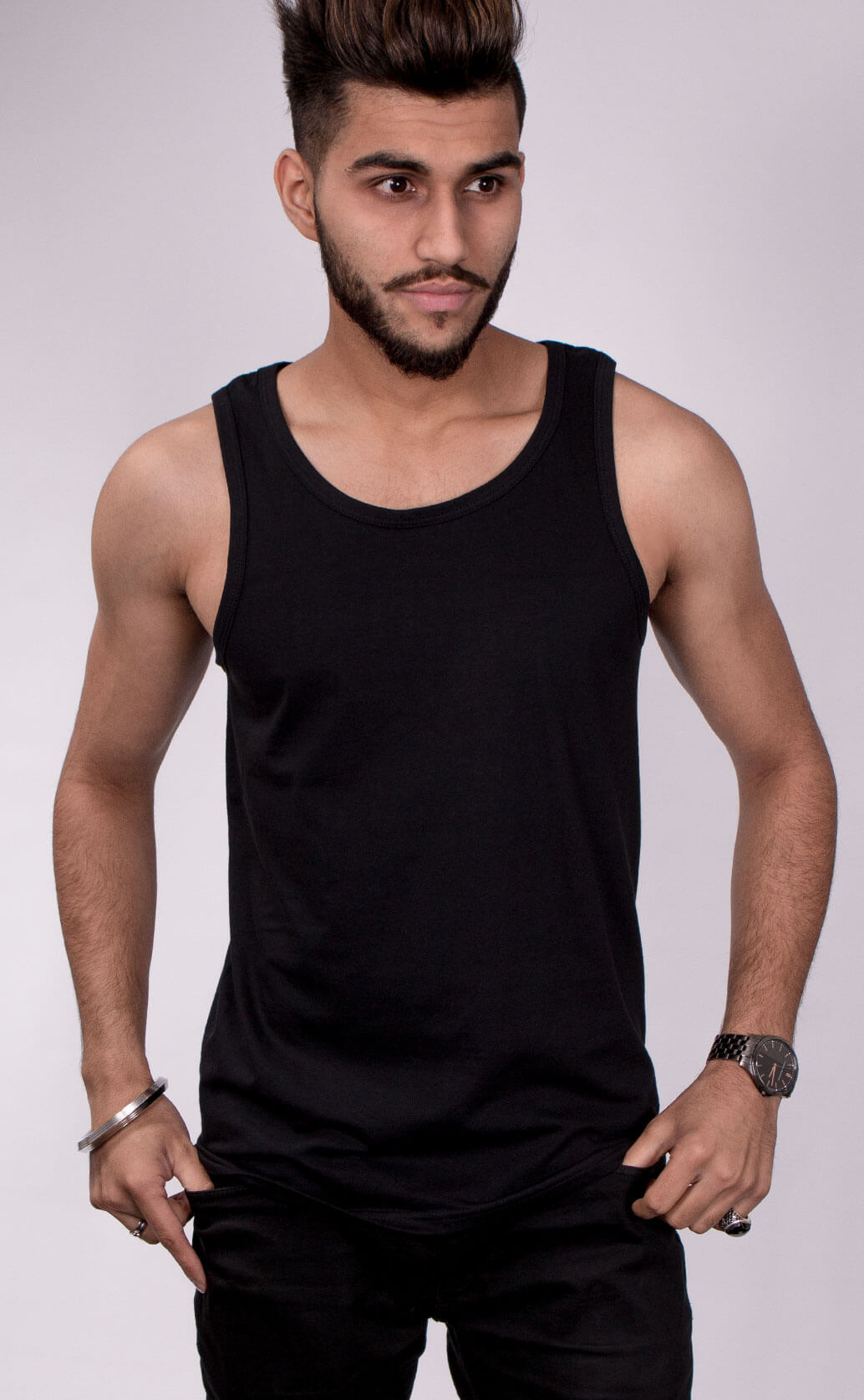 Size guide image for Mens Vest shirt type. Model is dressed in black