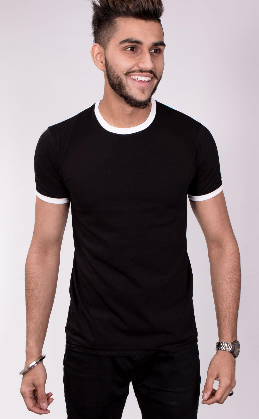 Size guide image for Mens Ringer shirt type. Model is dressed in black