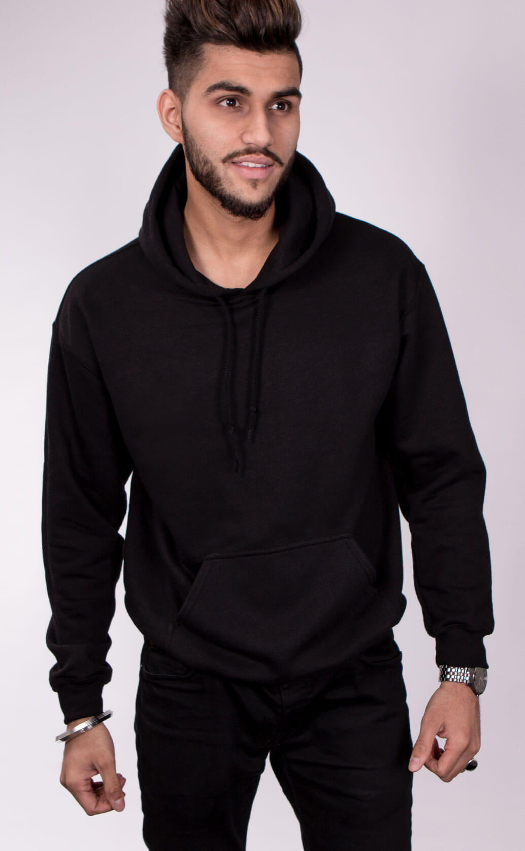 Size guide image for Unisex Hoodie mens shirt type. Model is male and dressed in black