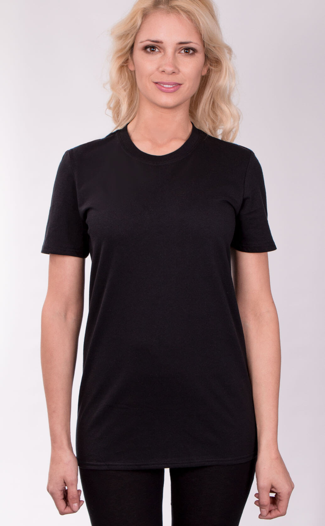 Size guide image for Unisex T Shirt shirt type. Shot from the front. Model is dressed in black
