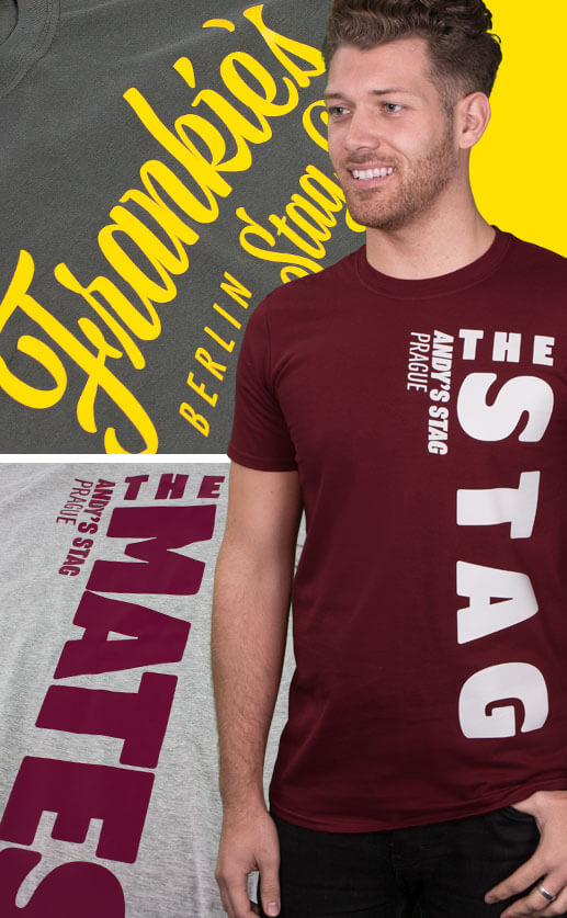 Stag Do T Shirts product category image. Model wears maroon t shirt with with The Stag print. Background shots of cropped stag t shirts with different designs and print colours