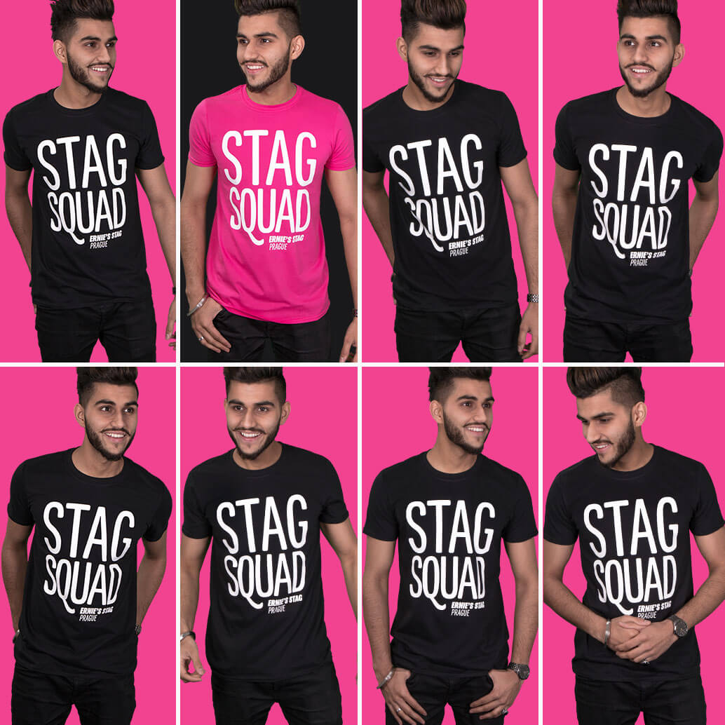 Medium close-up shots of models. The groom is in a fuchsia t shirt and the group are in black t-shirts. They all have 'Stag Squad' design printed in white on the front. Fuchsia pink background