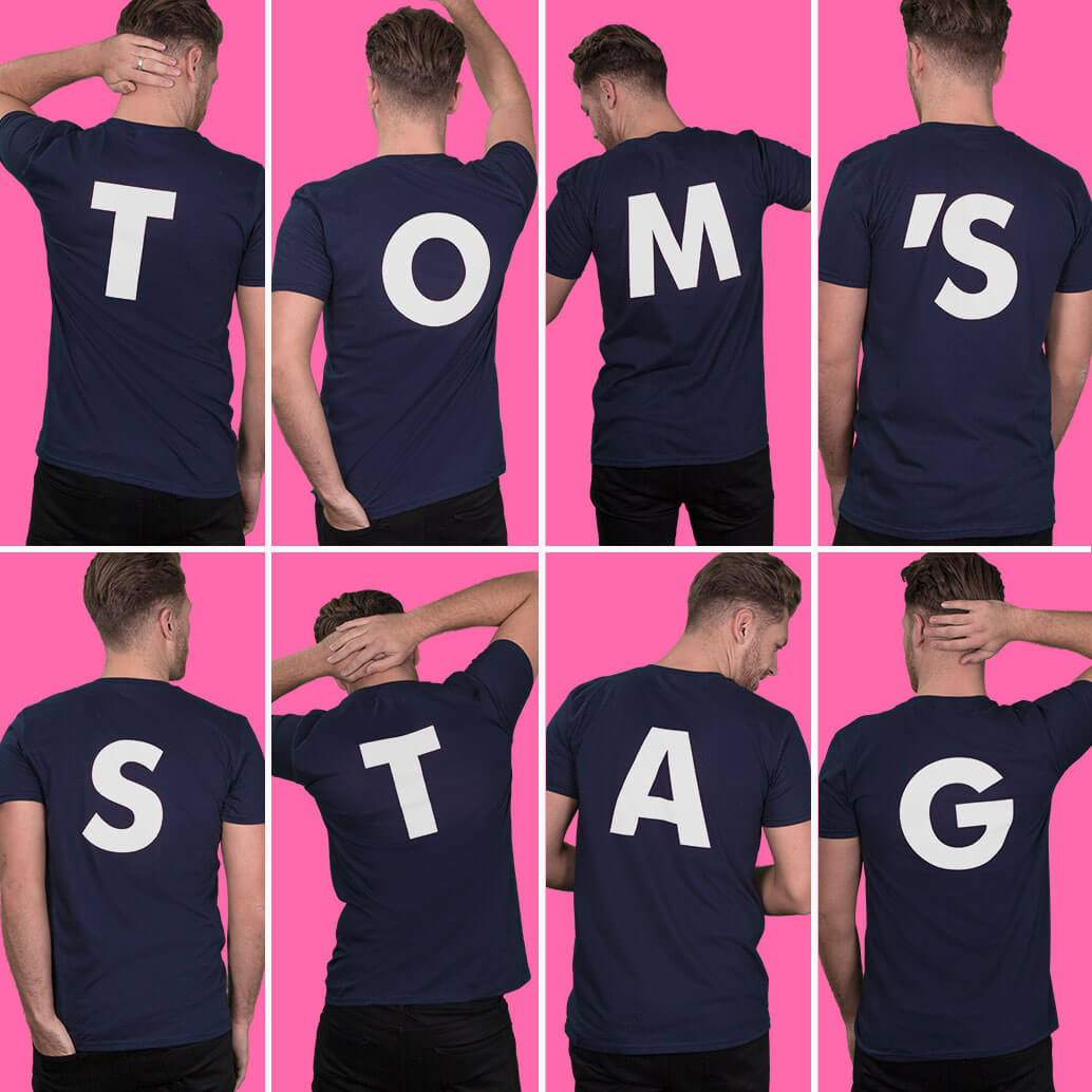 Eight medium to close-up shots of models wearing navy style fit t-shirts. Photographed from the back to show white back letter print. Spells out TOM'S STAG. Light pink background