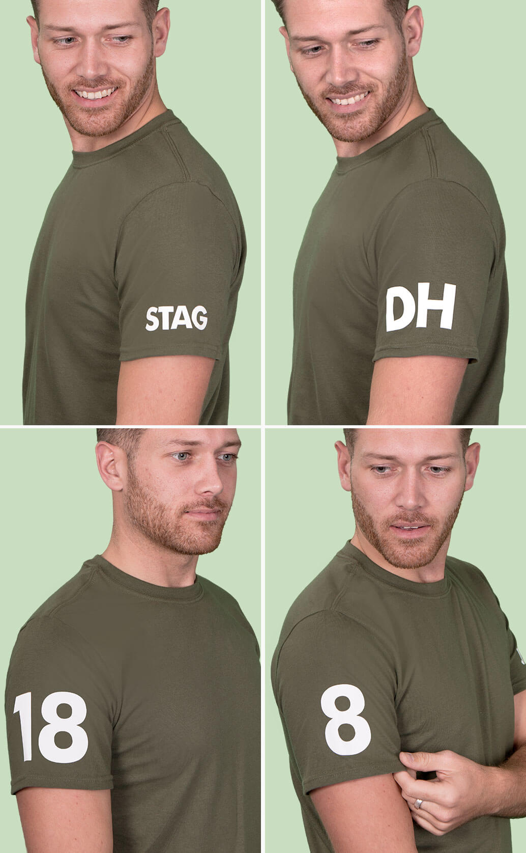 Four medium close-up shots of model in military green t shirt, each displaying different examples of white sleeve prints including a name, number, year and the word 'hen'. Light green background