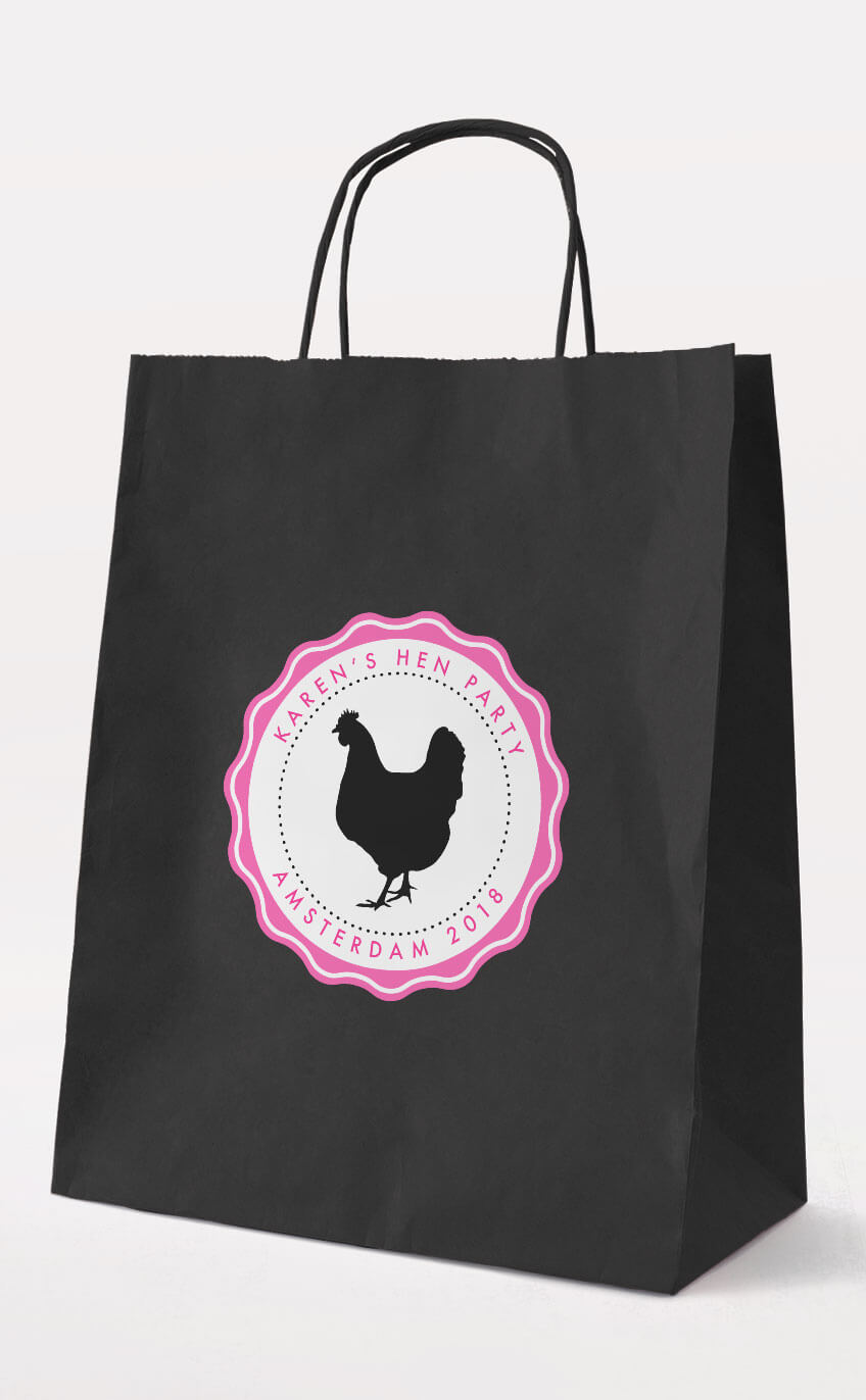 Chick Hen Party Gift Bag – Black – Personalised Hen Party Gift Bags