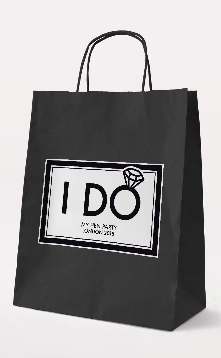I Do Hen Party Gift Bag – Black – Personalised Hen Party Gift Bags
