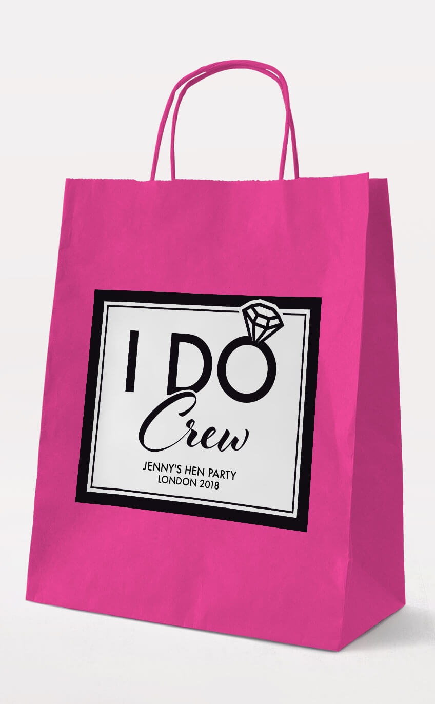 I Do Crew Hen Party Gift Bag - Fuchsia - Personalised Hen Party Gift Bags