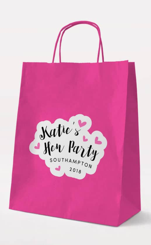Love Hearts Gift Bag - Fuchsia - Personalised Hen Party Gift Bags