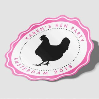Chick Personalised Hen Party Stickers - Black - Pack of 10