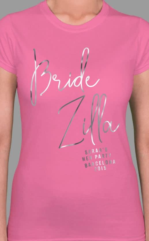 Bridezilla Foil - Personalised Hen Party T Shirt