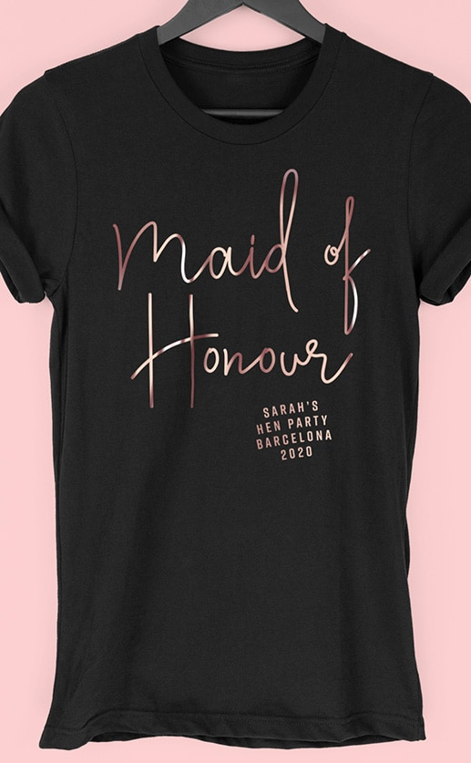 Maid of Honour Foil – Personalised Hen Party T Shirt