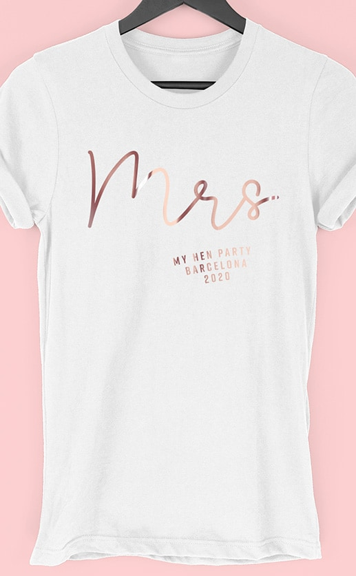 Mrs Foil – Personalised Hen Party T Shirt