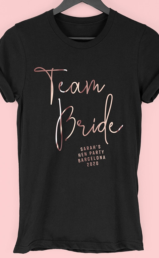 Team Bride Foil - Personalised Hen Party T Shirt