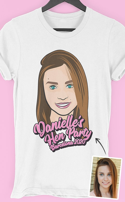 Head Cartoon PhotoWorks – Personalised Hen Party T Shirt