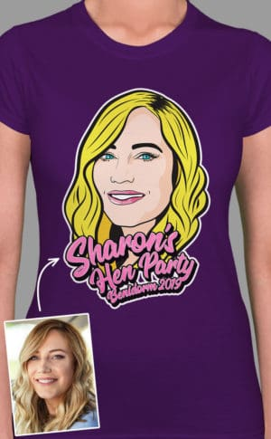 Head Cartoon PhotoWorks - Personalised Hen Party T Shirt