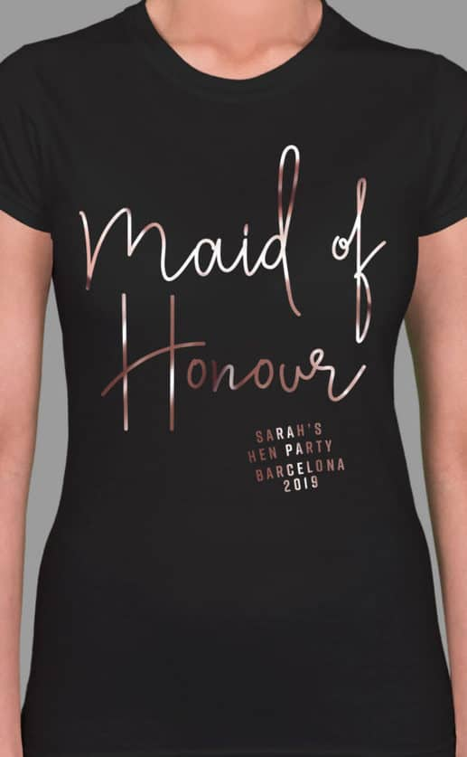 Maid of Honour Foil - Personalised Hen Party T Shirt