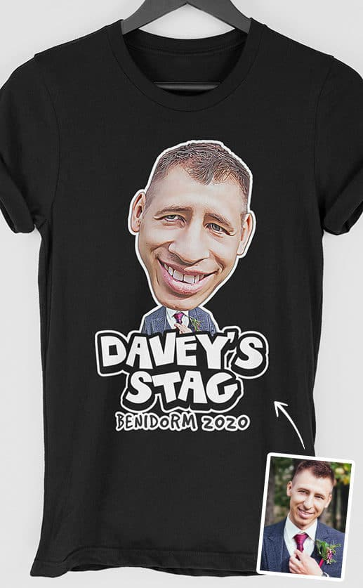 Stylised photograph of a groom to be. Characterised and exaggerated features such as large nose and chin. Bold, comic style personalised text underneath. Full colour print on black t shirt
