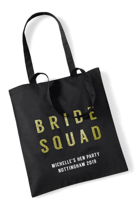 Bride Squad Bold Glitter Hen Party Tote Bag