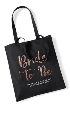 Bride to Be Script Hen Party Tote Bag