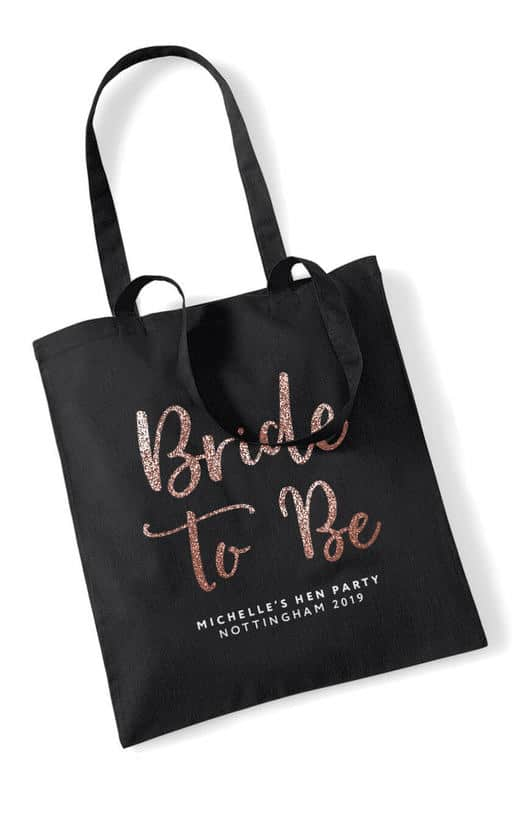 BRIDE TO BE – GLITTER SCRIPT TOTE BAG