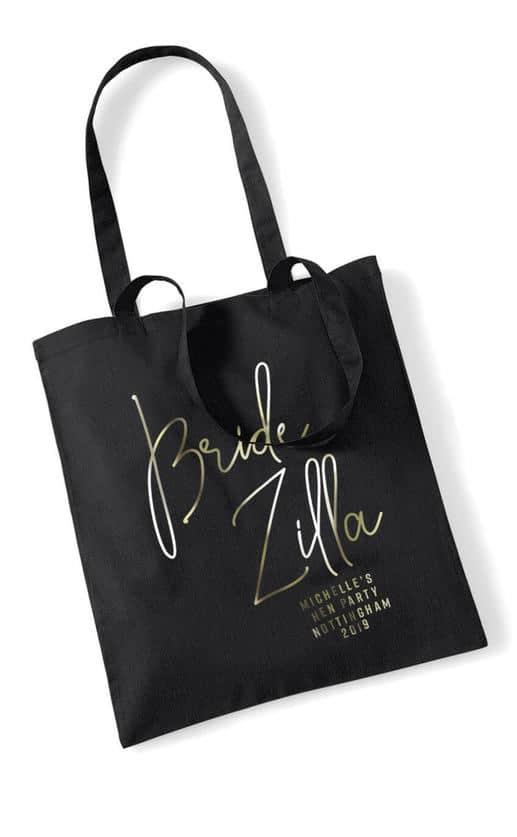 Bride Zilla Foil Hen Party Tote Bag