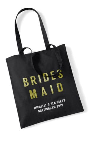 Bridesmaid Bold Glitter Hen Party Tote Bag