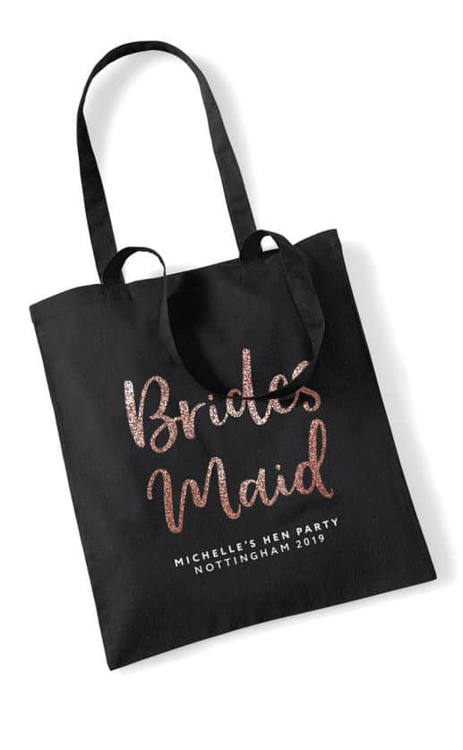 BRIDESMAID – GLITTER SCRIPT TOTE BAG