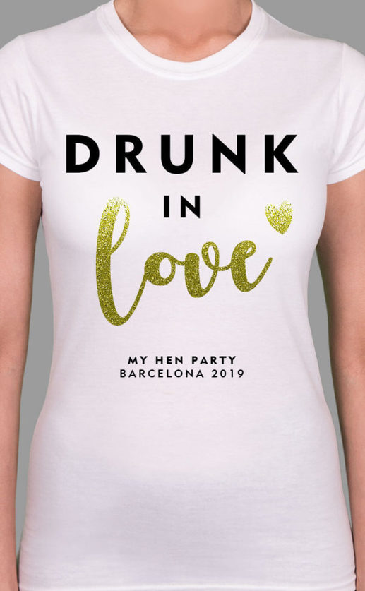Drunk In Love Personalised Hen Party T Shirt