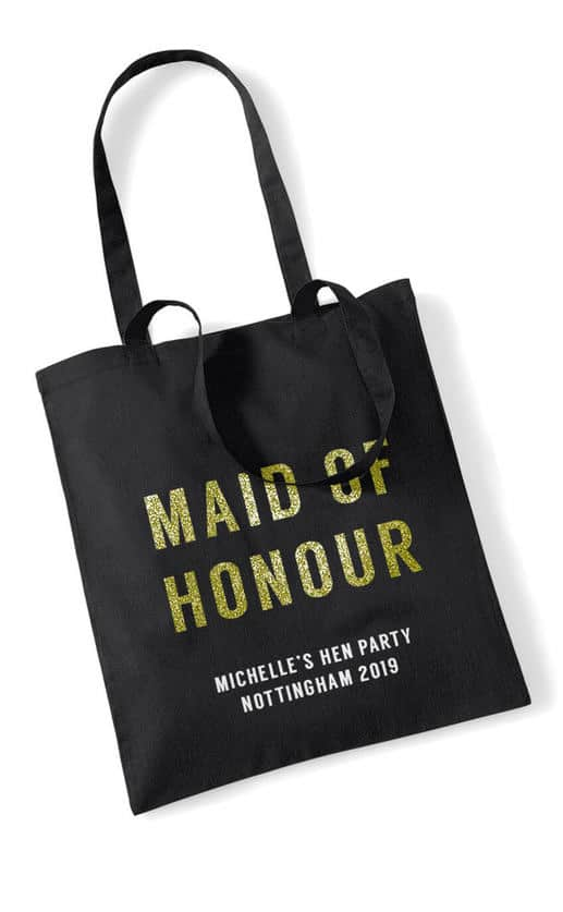Maid of Honour Bold Glitter Hen Party Tote Bag