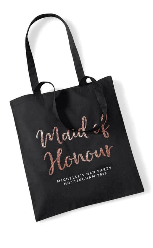 MAID OF HONOUR – GLITTER SCRIPT TOTE BAG